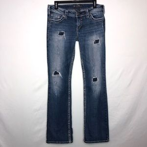 Silver Pioneer Distress Boot Cut Jeans